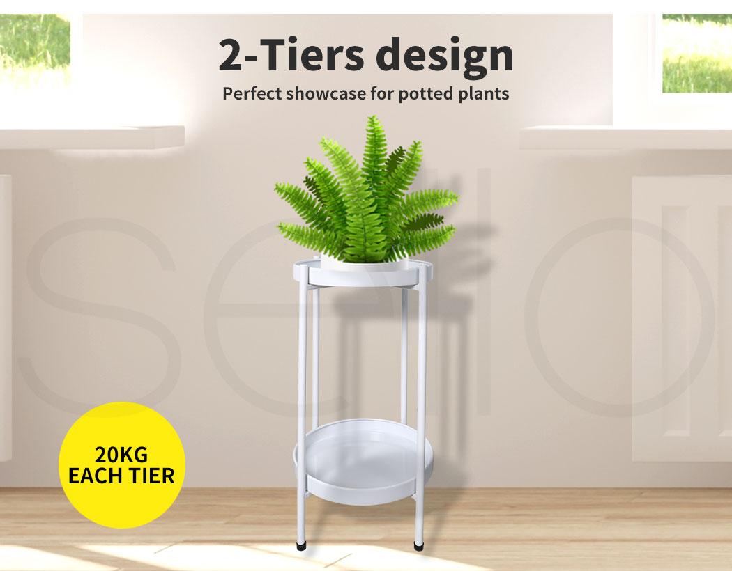 thumbnail 39 - Levede 2 Tiers Plant Stand Metal Flower Pots Rack Garden Shelf Outdoor Indoor