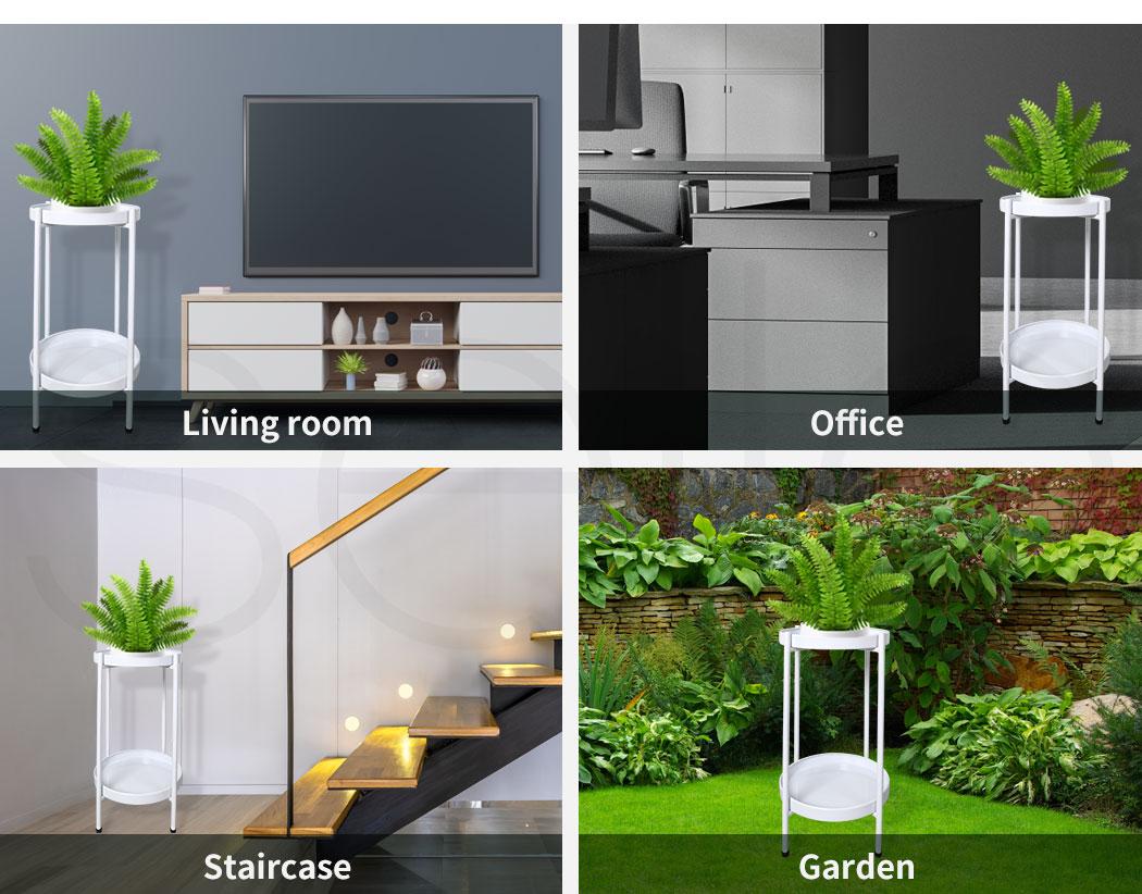 thumbnail 45 - Levede 2 Tiers Plant Stand Metal Flower Pots Rack Garden Shelf Outdoor Indoor